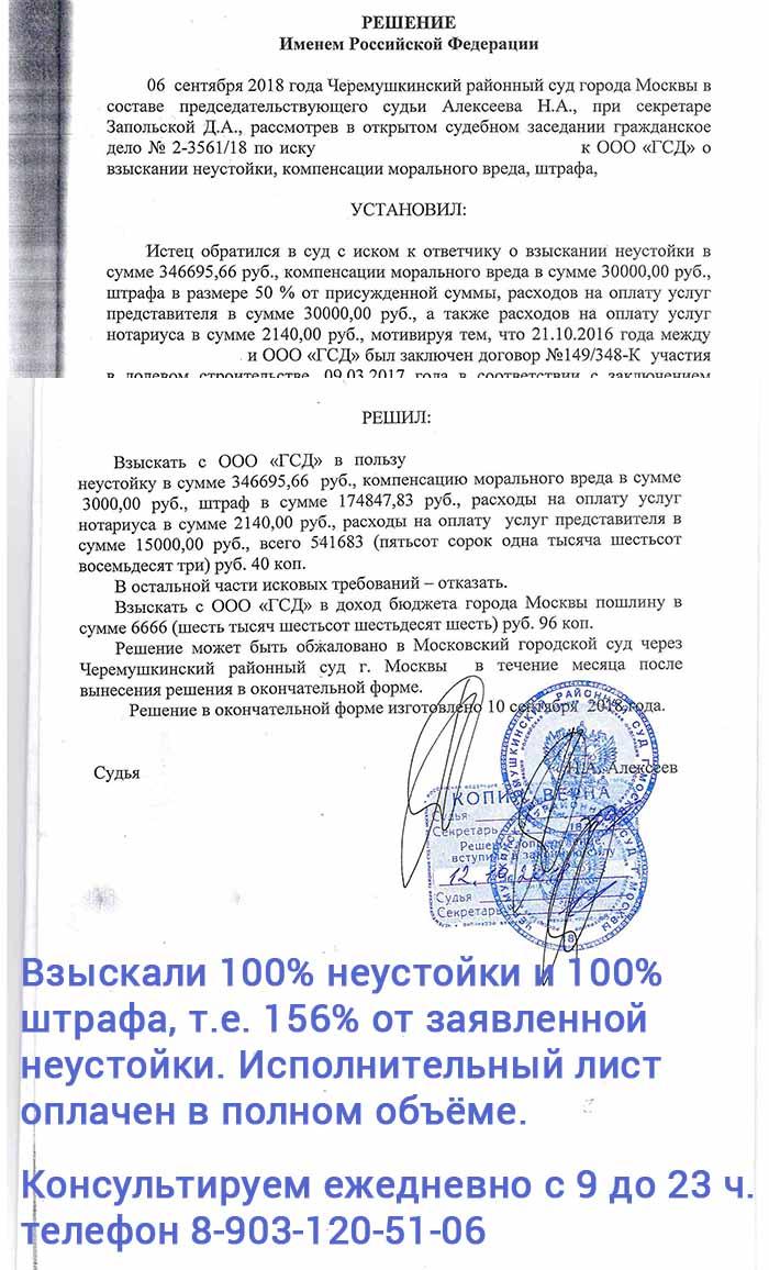 В Черёмушкинском суде взыскали 100% неустойки и 100% штрафа без снижения по 333 ГК РФ, а всего 156 процентов от заявленной в иске неустойки