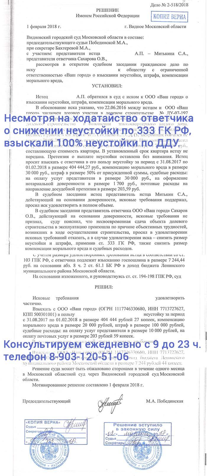 Видновский суд присудил неустойку по договору долевого участия в полном объёме, несмотря на ходатайство ответчика о снижении неустойки по 333 ГК РФ