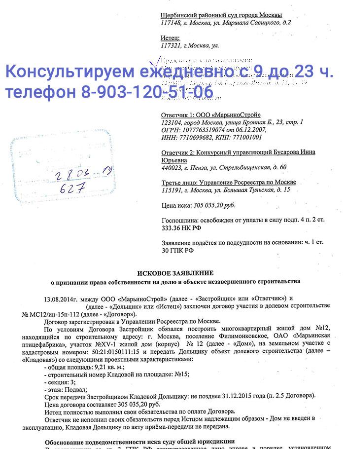 Иск о признании права собственности на нежилое помещения к ООО МарьиноСтрой