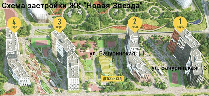 План - схема ЖК Новая Звезда с корпусами по которым нужно взыскивать неустойку