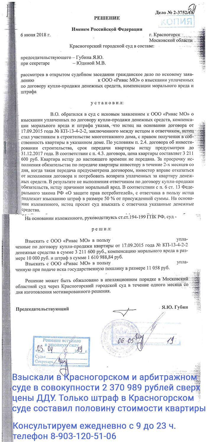 Решение Красногорского суда по расторжению ДДУ по застройщику из группы ПИК