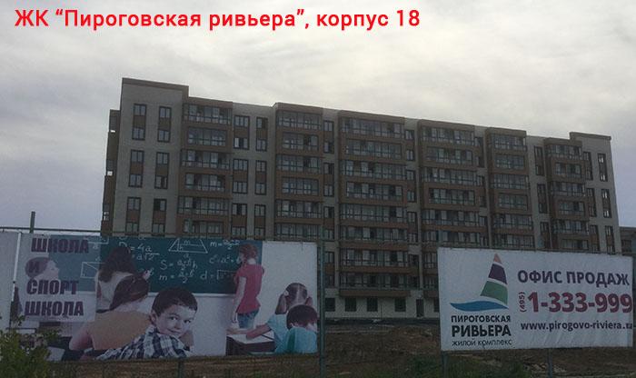 ЖК Пироговская ривьера, корпус 18 в районе Клязминского водохранилища
