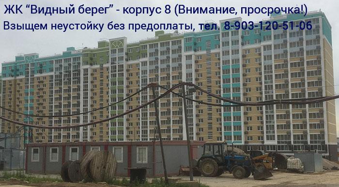 Взыскание неустойки с застройщика ЖК Видный Берег за просрочку передачи квартиры по корпусу 8