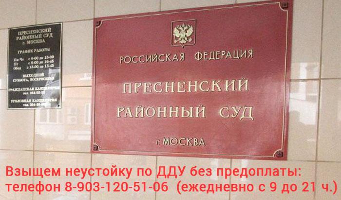 Юридическая помощь по взысканию неустойки по ДДУ с ПАО Группа Компаний ПИК в Пресненском районном суде города Москвы